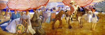 Under the Striped Umbrella | Frederick C Frieseke | oil painting