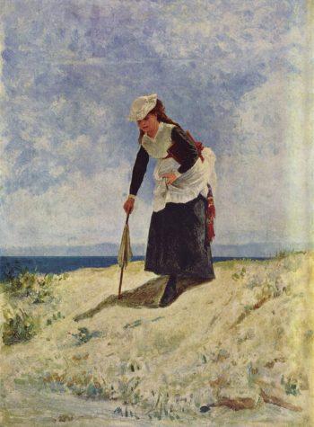 Donna sulla spiaggia | Giuseppe de Nittis | oil painting