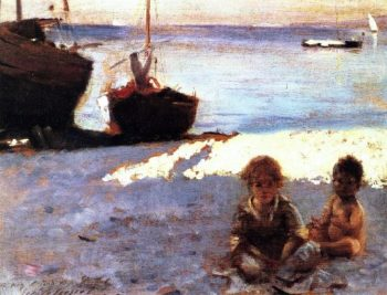 Beach at Capri | John Singer Sargent | oil painting