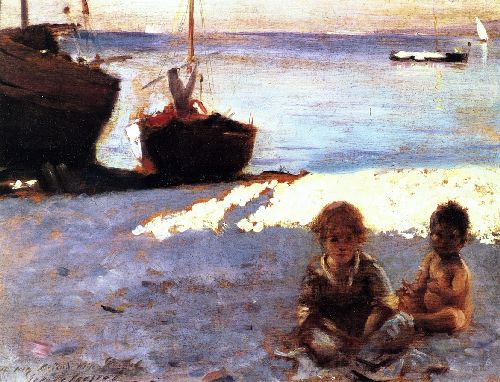 Beach at Capri | John Singer Sargent | oil painting