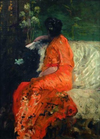 Kimono couleur orange | Giuseppe de Nittis | oil painting