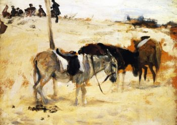 Donkeys in a Moroccan Landscape | John Singer Sargent | oil painting