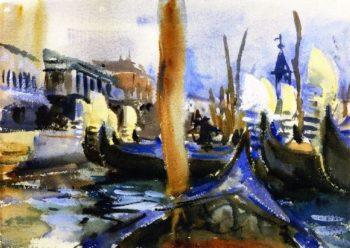 Gondola Prows | John Singer Sargent | oil painting