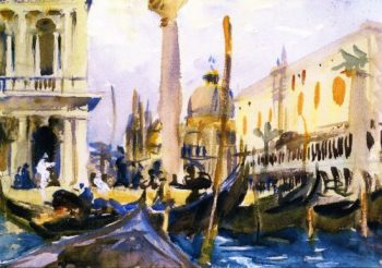 The Piazzetta with Gondolas | John Singer Sargent | oil painting