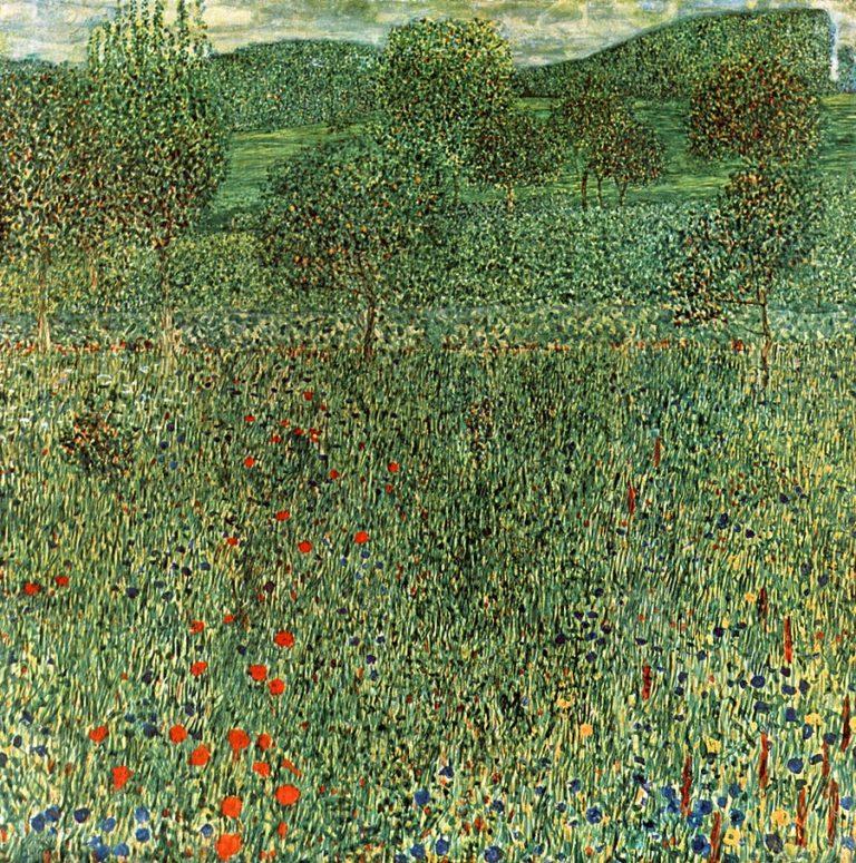 Blooming field   Gustav Klimt   oil painting