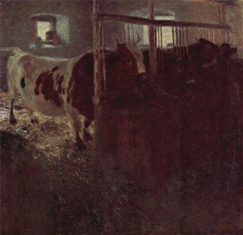 Cows in the barn | Gustav Klimt | oil painting