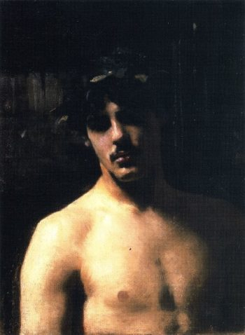 A Male Model with a Wreath of Laurel | John Singer Sargent | oil painting