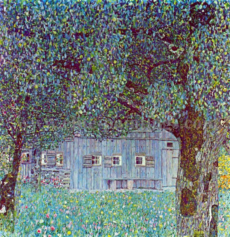 Farmhouse in Upper Austria | Gustav Klimt | oil painting