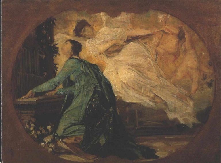 Female organ player | Gustav Klimt | oil painting