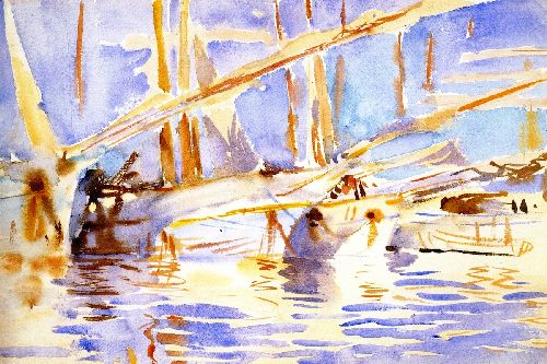 Boats in Harbor | John Singer Sargent | oil painting