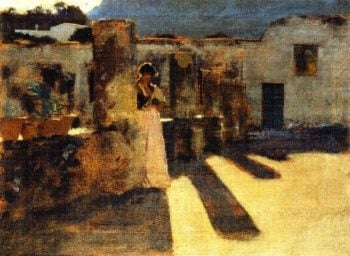Capri Girl on a Rooftop | John Singer Sargent | oil painting