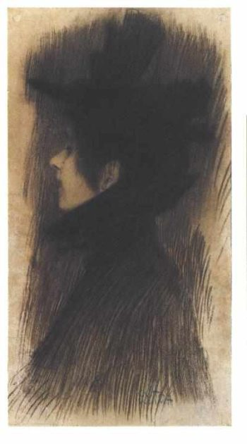 Girl with hat and cape in profile | Gustav Klimt | oil painting