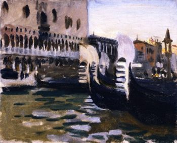 Gondolas off the Doge's Palace Venice | John Singer Sargent | oil painting