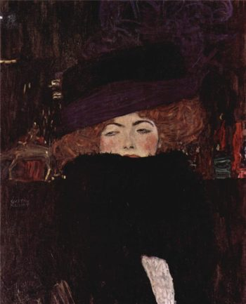 Lady with Hat and Featherboa | Gustav Klimt | oil painting
