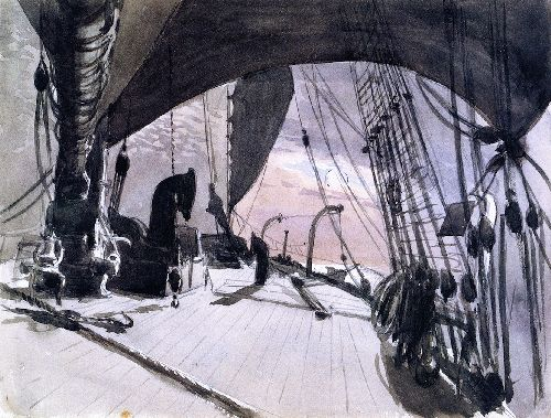 Deck of a Ship in Moonlight   John Singer Sargent   oil painting
