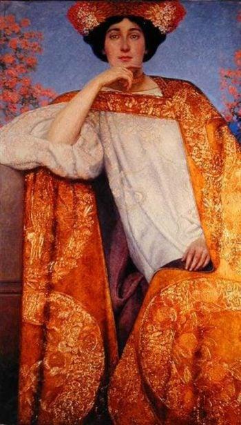 Portrait of a Woman in a Golden Dress | Gustav Klimt | oil painting