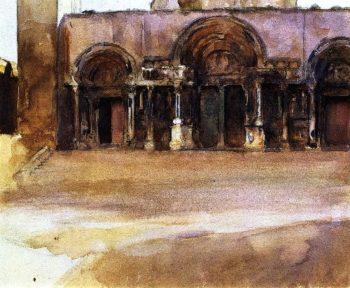 The West Portals of Saint Gilles du Gard | John Singer Sargent | oil painting