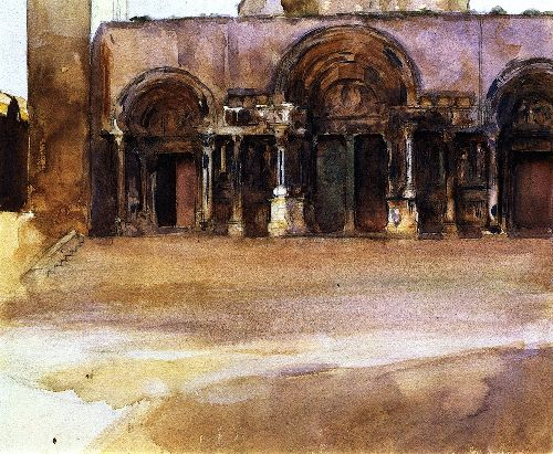The West Portals of Saint Gilles du Gard | John Singer Sargent | oil painting