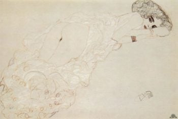 Reclining Nude Lying on Her Stomach and Facing Right | Gustav Klimt | oil painting