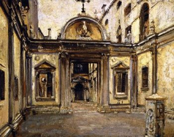 Courtyard of the Scuola Grande di San Giovanni Evangelista | John Singer Sargent | oil painting
