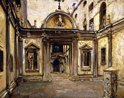 Courtyard of the Scuola Grande di San Giovanni Evangelista   John Singer Sargent   oil painting
