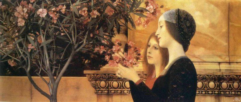 Two Girls With An Oleander | Gustav Klimt | oil painting