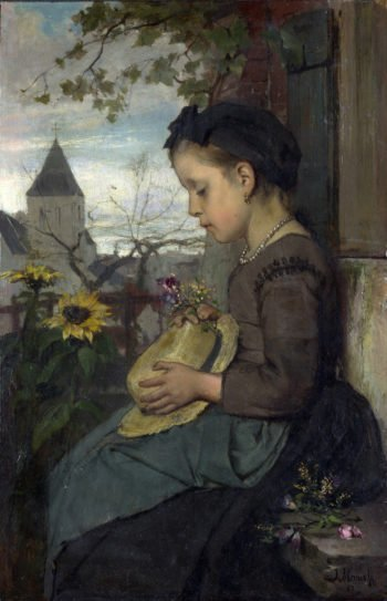A Girl Seated Outside a House | Jacob Maris | oil painting