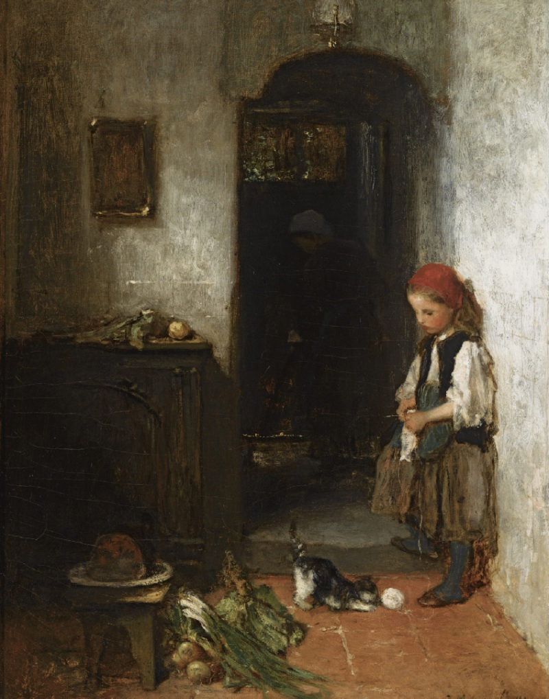 A Girl with a Playing Kitten | Jacob Maris | oil painting