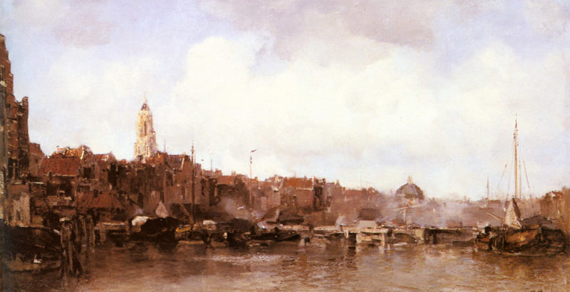 A View Of A Harbor Town | Jacob Maris | oil painting