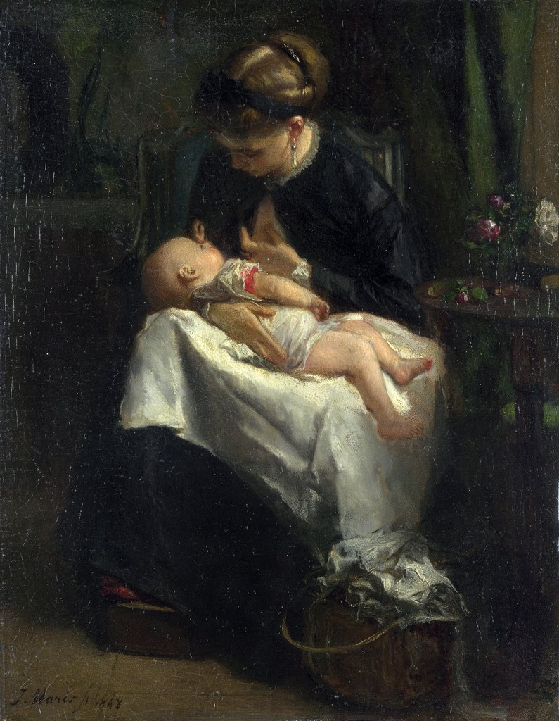 A Young Woman nursing a Baby | Jacob Maris | oil painting