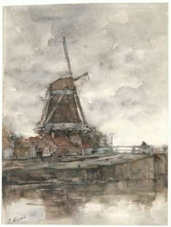 De molen en de brug bij de Noord West Buitensingel in Den Haag | Jacob Maris | oil painting