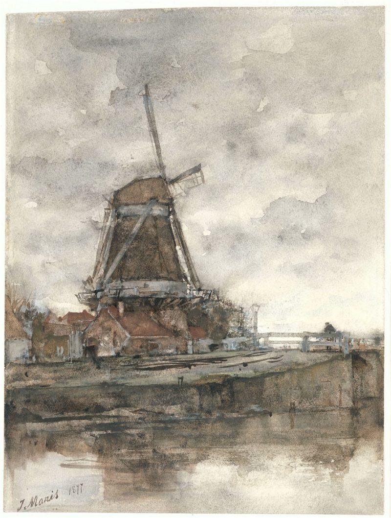 De molen en de brug bij de Noord West Buitensingel in Den Haag | Jacob Maris | oil painting