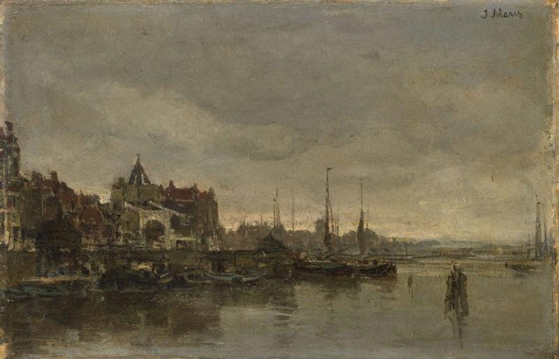 De Schreierstoren met de brug over de Gelderse Kade te Amsterdam | Jacob Maris | oil painting
