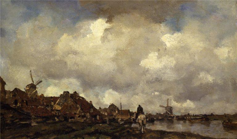 Dorpsgezicht bij Schiedam | Jacob Maris | oil painting