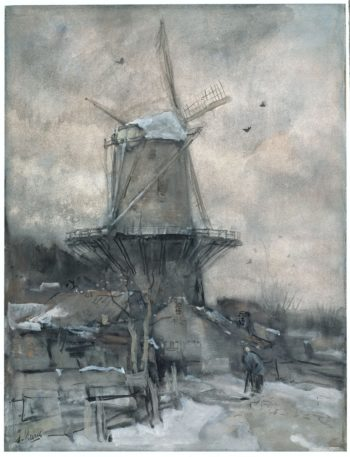 Een molen in de winter | Jacob Maris | oil painting
