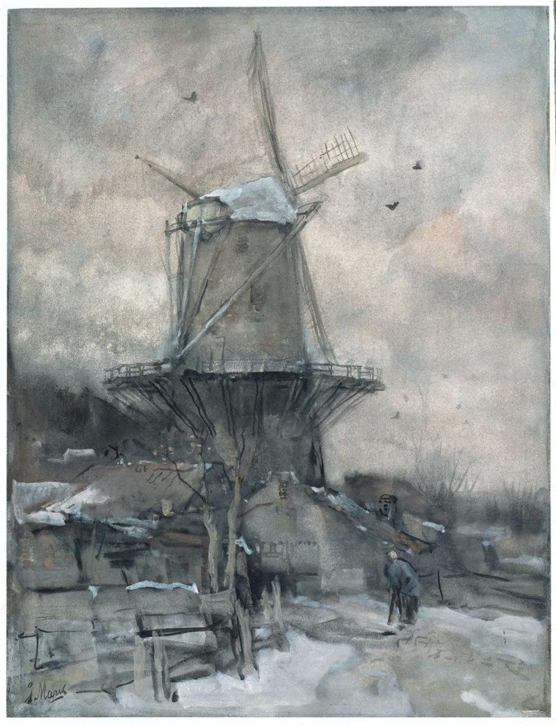 Een molen in de winter | Jacob Maris | oil painting