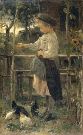 Feeding chicks | Jacob Maris | oil painting