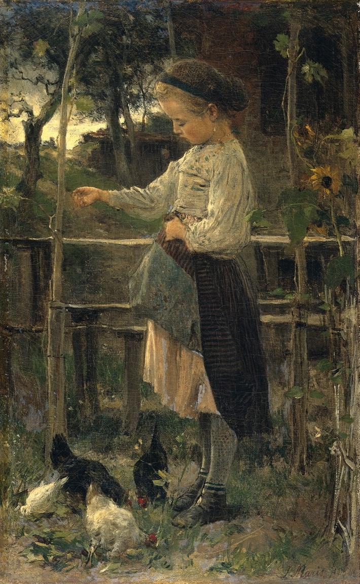 Feeding chicks | Jacob Maris | oil painting