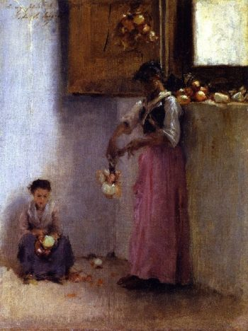 Stringing Onions | John Singer Sargent | oil painting