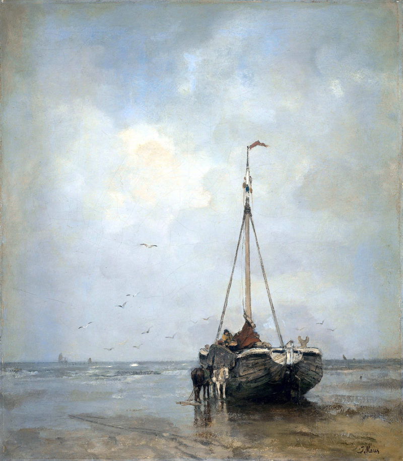 Fishersboat at the Beach of Scheveningen | Jacob Maris | oil painting
