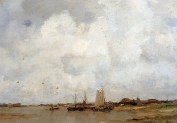Fisher ships on a river | Jacob Maris | oil painting
