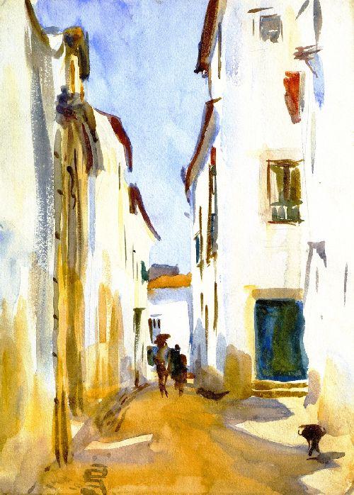 A Street Scene Spain | John Singer Sargent | oil painting
