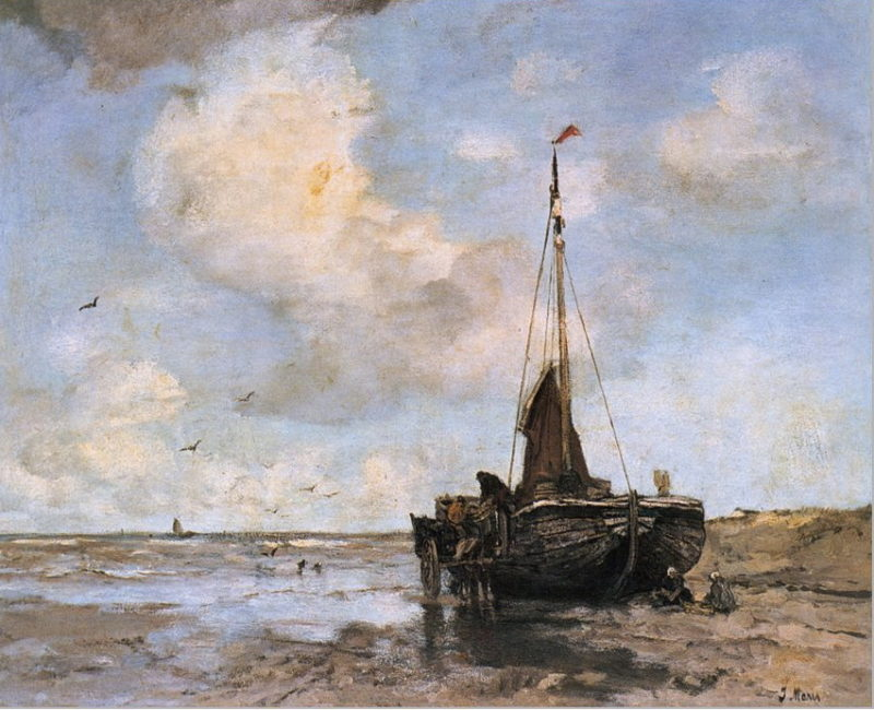 Fishing boat on the beach | Jacob Maris | oil painting