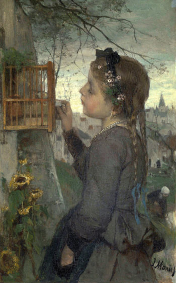 Girl feeding her Bird in a Cage | Jacob Maris | oil painting