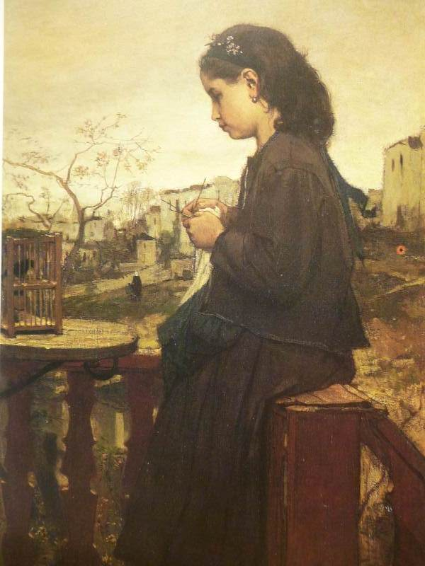 Girl knitting on the balcony Montmartre | Jacob Maris | oil painting