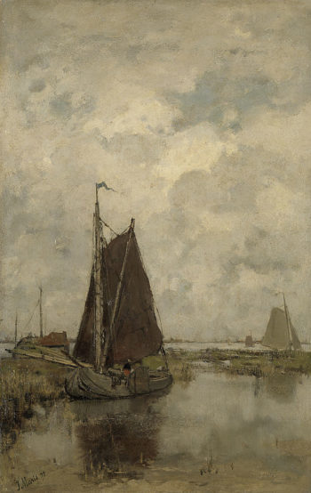 Gray day with ships | Jacob Maris | oil painting