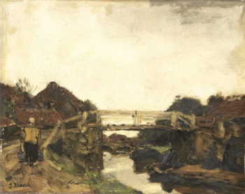 Het houten bruggetje | Jacob Maris | oil painting