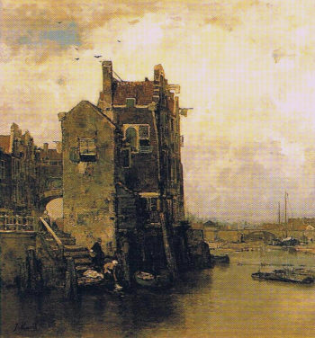 Houses and Washer Women in Dordrecht | Jacob Maris | oil painting