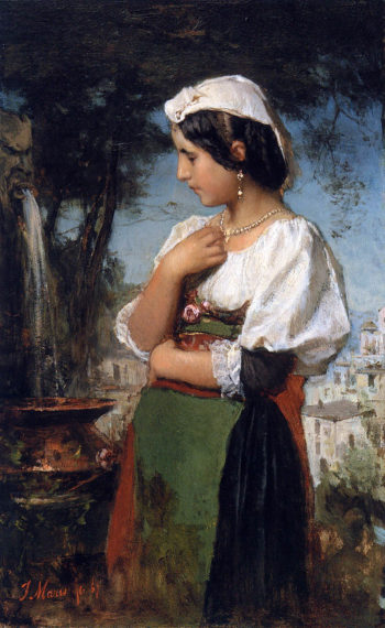 Italian girl at a fountain | Jacob Maris | oil painting