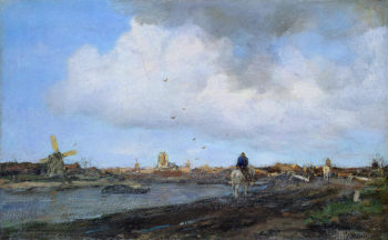 Landscape with Windmills | Jacob Maris | oil painting